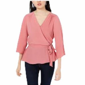 BCX Juniors Surplice Wrap Top Rose Pink Size M